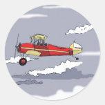 avión pegatina redonda