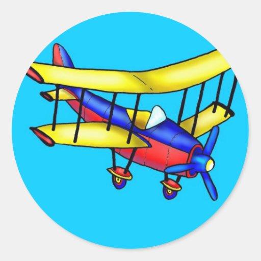 Avión pequeño pegatina redonda