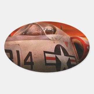Avión - piloto - fuerza aérea - Go consigue el Pegatina Ovalada