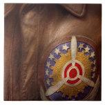 Avión - piloto - la chaqueta del vuelo azulejo ceramica