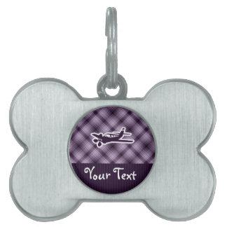 Avión púrpura placa mascota