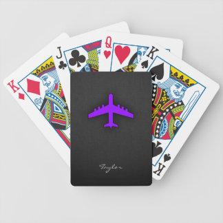 Avión púrpura violeta; Piloto Barajas De Cartas