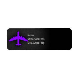 Avión púrpura violeta; Piloto Etiqueta De Remite