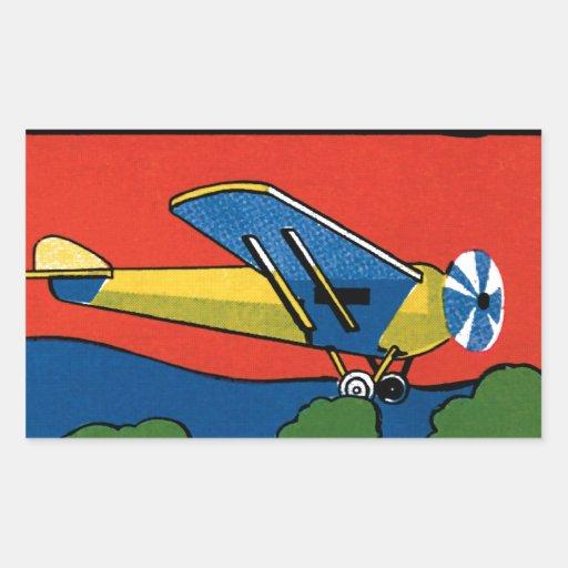 Avión retro de Deco Rectangular Pegatina