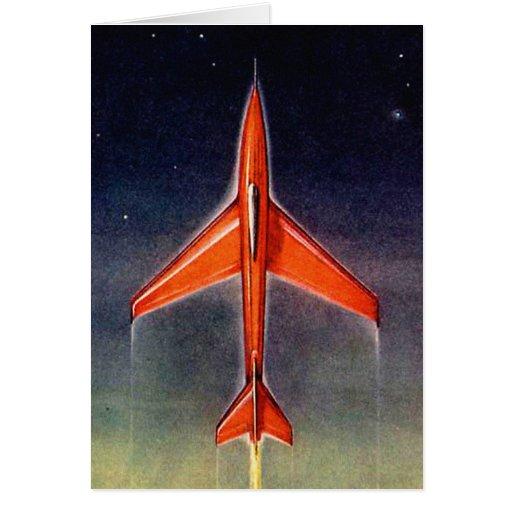 Avión retro X-1 del espacio de Sci Fi del vintage Tarjeta De Felicitación