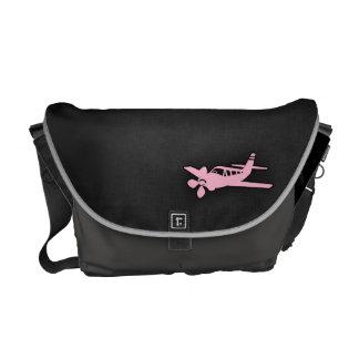 Avión rosa claro bolsa de mensajería