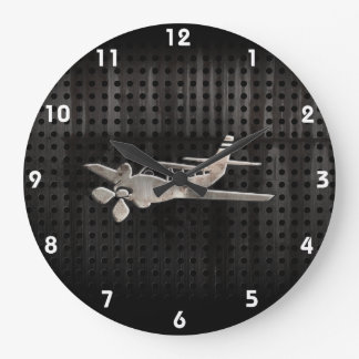 Avión rugoso reloj redondo grande