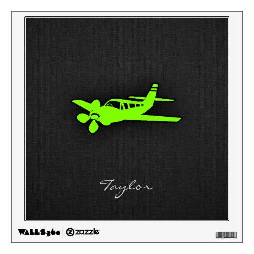 Avión verde chartreuse, de neón