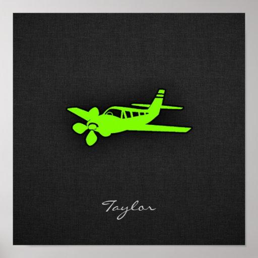 Avión verde chartreuse, de neón impresiones