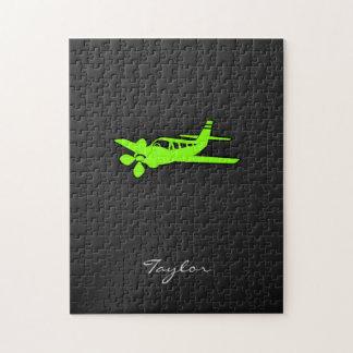 Avión verde chartreuse de neón puzzle