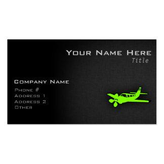 Avión verde chartreuse, de neón tarjetas de visita