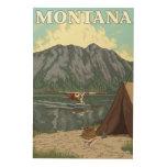Avión y pesca - Montana de Bush Impresión En Madera