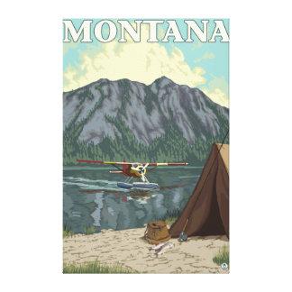 Avión y pesca - Montana de Bush Impresión En Lona Estirada