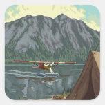 Avión y pesca - Montana de Bush Pegatina Cuadrada