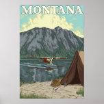Avión y pesca - Montana de Bush Póster