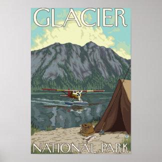 Avión y pesca - Parque Nacional Glacier TA de Bus Poster