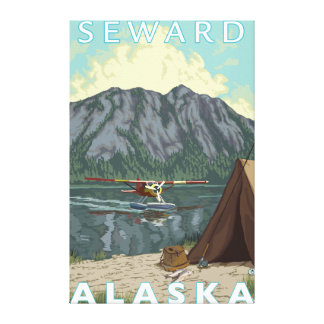 Avión y pesca - Seward, Alaska de Bush Impresión De Lienzo