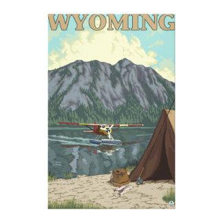 Avión y pesca - Wyoming de Bush Impresión En Lona