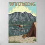 Avión y pesca - Wyoming de Bush Poster
