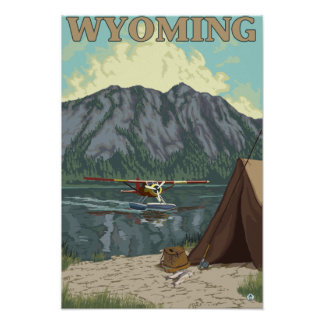 Avión y pesca - Wyoming de Bush Póster