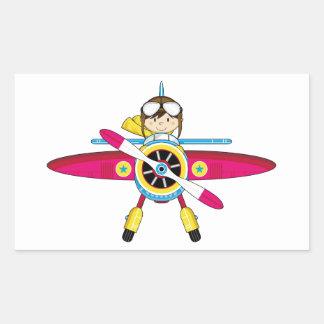 Avión y piloto lindos del dibujo animado pegatina rectangular