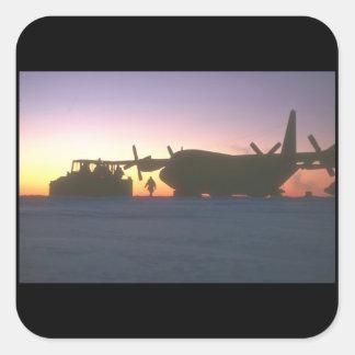 Aviones being_Military del transporte de C-130 Pegatina Cuadrada