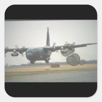 Aviones cargo_Military de C-130 Hércules LAPES Pegatina Cuadrada