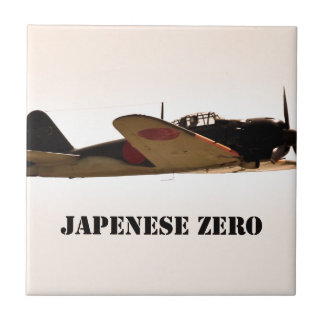 Aviones cero de la guerra mundial del japonés 2 azulejo cuadrado pequeño
