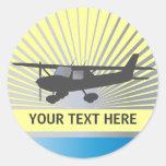 Aviones de ala alta pegatina redonda