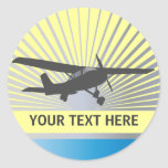 Aviones de ala alta pegatinas redondas