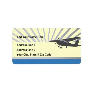 Aviones de ala alta - texto de encargo etiqueta de dirección