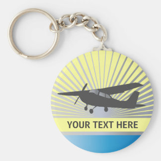 Aviones de ala alta - texto de encargo llavero redondo tipo pin