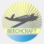 Aviones de Beechcraft Pegatina Redonda