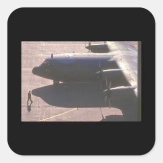 Aviones de C-130 Hércules Transport_Military Pegatina Cuadrada