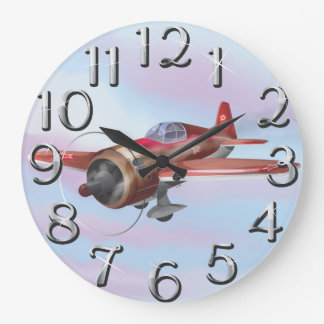 Aviones de combate de la Segunda Guerra Mundial Reloj Redondo Grande