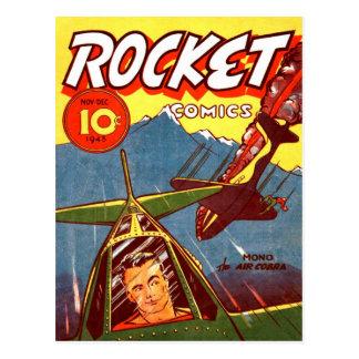 Aviones de combate del vintage cómicos postal