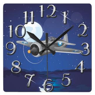 Aviones de combate del vintage reloj cuadrado