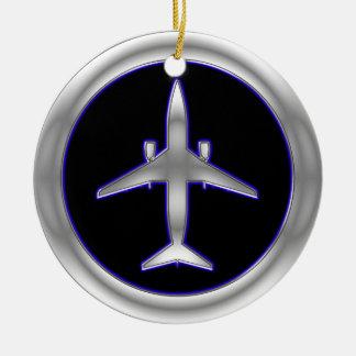 Aviones de jet de plata ornamentos de navidad