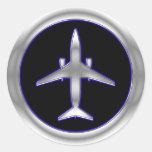 Aviones de jet de plata pegatina redonda