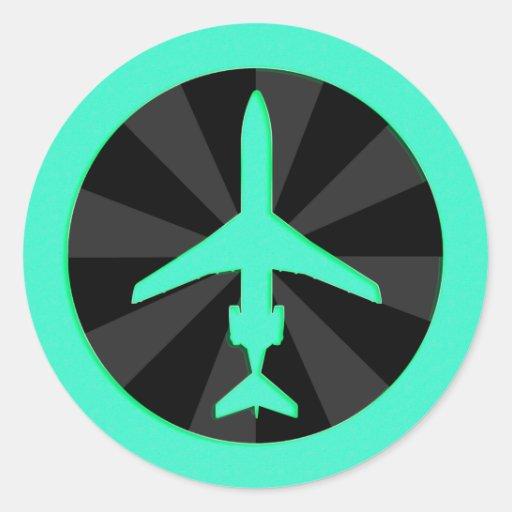 Aviones de jet pegatina redonda