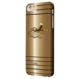 Aviones de oro del avión de pasajeros del jet funda para iPhone 6 plus barely there