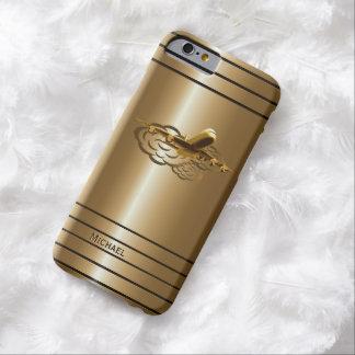 Aviones de oro del avión de pasajeros del jet funda para iPhone 6 barely there