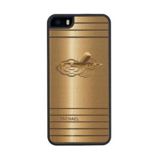 Aviones de oro del avión de pasajeros del jet funda de madera para iPhone 5