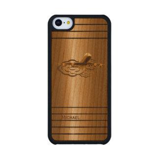 Aviones de oro del avión de pasajeros del jet funda de iPhone 5C slim cerezo