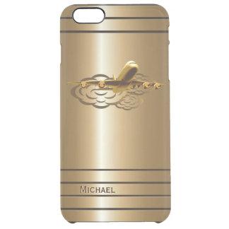 Aviones de oro del avión de pasajeros del jet funda clearly™ deflector para iPhone 6 plus de unc