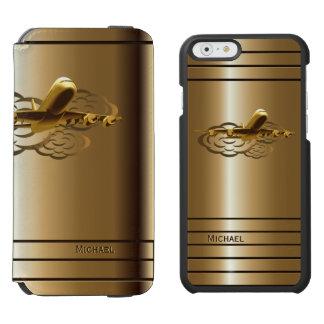 Aviones de oro del avión de pasajeros del jet funda cartera para iPhone 6 watson