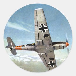 Aviones de WWII ME-109 en vuelo Pegatina Redonda