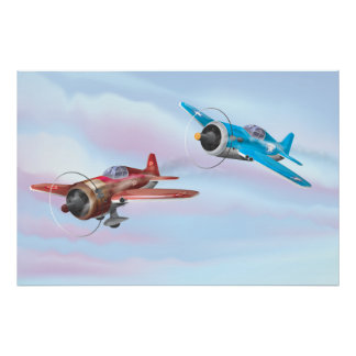 Aviones del apoyo del combatiente de la Segunda Póster
