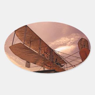 Aviones del aviador de Wright Calcomanía Ovaladas Personalizadas
