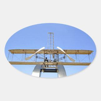 Aviones del aviador de Wright Pegatina Ovalada